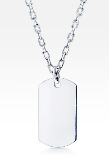 Mens Sterling Silver Extra Large Smooth-Edge Dog Tag Necklace w/ Oval Link Chain (Engravable)