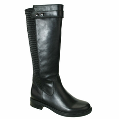 David Tate Women's Dori Extra/Super Women's Wide Calf� Leather Boot (Black)