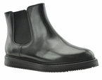 Eileen Women's Extra Wide Fit Leather Ankle Wedge Bootie (Black)