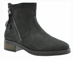 Janie Women's  Extra Wide Fit Leather Ankle Bootie (Black)