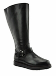 Judy Women's Super Wide Calf� Leather Knee High Wedge Boot (Black)