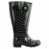 Lily Women's Extra Wide Calf Rain Boot (Black Polka Dot)
