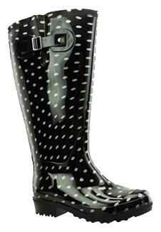 Lily Women's Extra Wide Calf Rain Boot (Black Polka Dot) - Rain ...