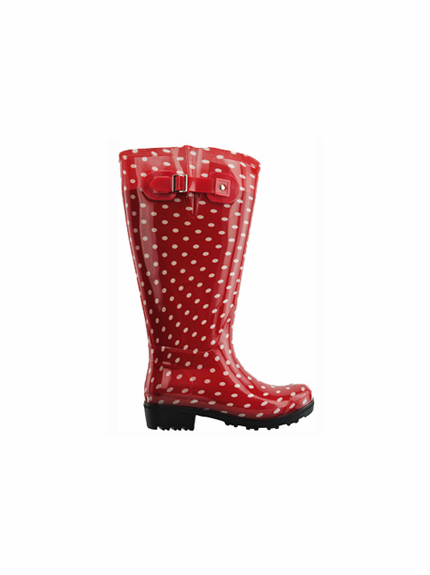 Lily Women's Extra Wide Calf Rain Boot (Red Polka Dot)