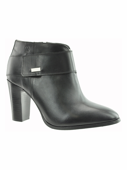 Morgan Women's  Extra Wide Fit Leather Ankle Dress Boot (Black) - FINAL SALE