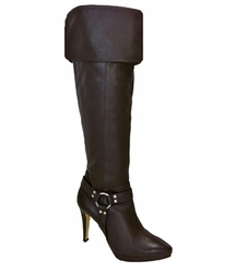 Ros Hommerson Women's Tease Extra Wide Calf Thigh High Over-the-Knee (Brown Leather) - Final Sale