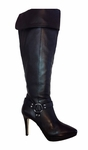 Ros Hommerson Women's Tease Super Wide Calf™ Over-the-Knee (Black Leather)