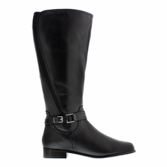Rose Petals Kylie Women's Extra Wide Calf Leather Riding Boot (Black)