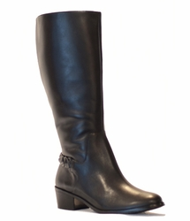 Rose Petals Sophia Extra Wide Calf Women's Leather Dress Boot (Black) - Final Sale