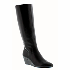 Rose Petals Summer2 Extra Wide Calf Wedge Boot (Black)