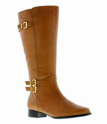 Rose Petals Women's Addison Extra Wide Calf Leather Riding Boot  (Cognac)