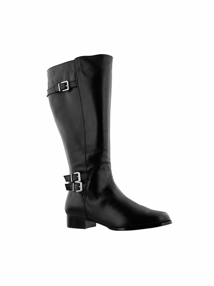 Rose Petals Women's Addison Extra Wide Calf Leather Riding Boot (Black)