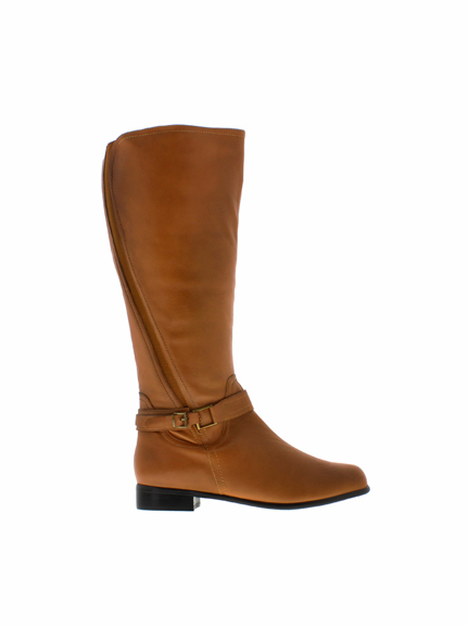 Rose Petals Women's Kylie Super Plus Wide Calf® Leather Riding Boot (Cognac)