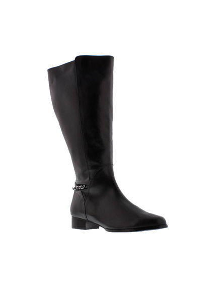 Rose Petals Women's Piper Super Wide Calf™ Leather Dress Boot (Black)