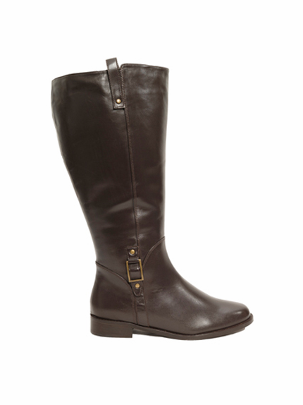 Rose Petals Women's Skye Super Wide Calf™ Leather Riding Boot (Brown)