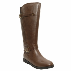Women's Cassie Extra Wide Calf Vegan Boot (for larger ankles! - Brown)