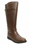 Women's Cassie Extra Wide Calf Vegan Boot (for larger ankles!) (Brown)