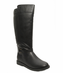 Women's Heidi Extra Wide Calf Vegan Boot (for larger ankles!) (Black)