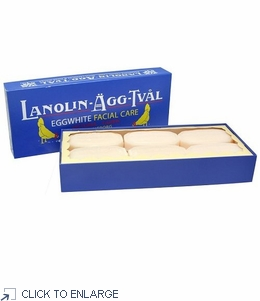 Lanolin Agg-Tval Eggwhite Facial Soap, Box/6 Bars by Victoria Sweden - limited supply - 20% Off