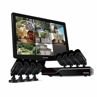 "Defender Sentinel 8CH H.264 500GB Smart Security DVR with 8 Hi-res Outdoor Surveillance Cameras, Smart Phone Compatibility and 19"" LED Monitor -21053<!--21053-->"