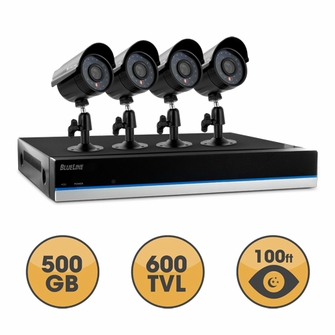 Defender BlueLine 4 Channel x 4 Camera Ultra Hi-Res DIY Security System with Real-Time Smartphone Viewing, 500GB Hard Drive & 75ft Night Vision<!--21169-->