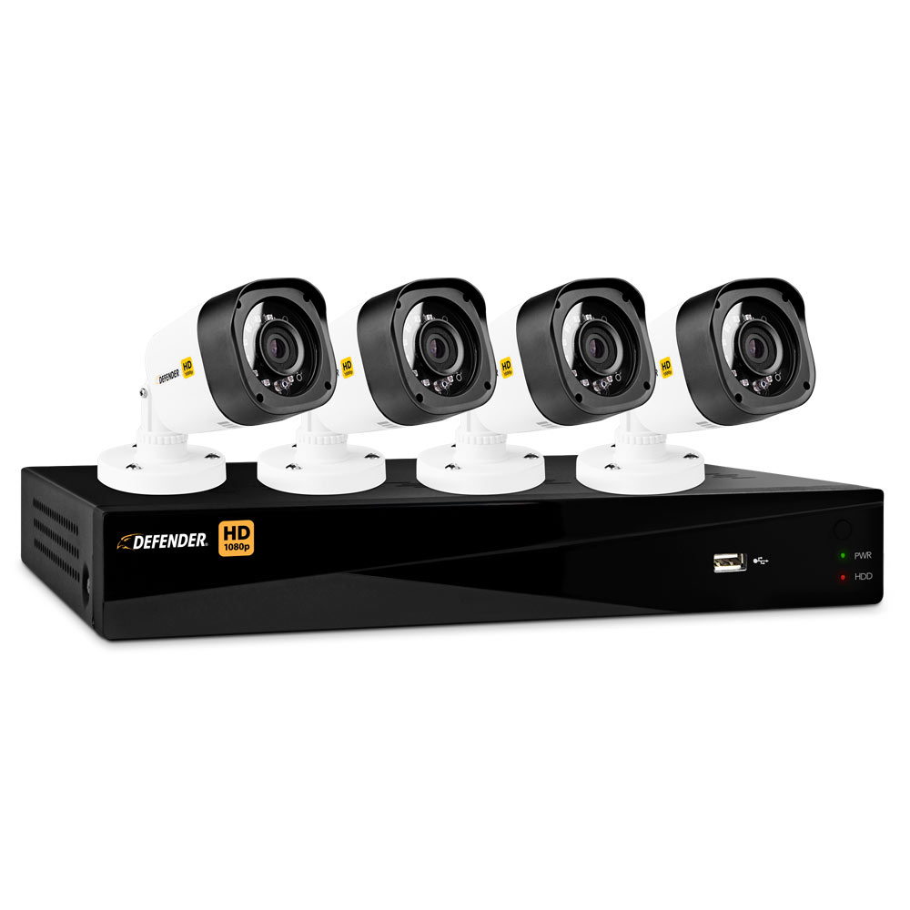 Defender® HD 1080p 8 Channel 1TB Digital Video Recording Security System and 4 Long Range Night Vision Bullet Cameras with Web and Mobile Viewing
