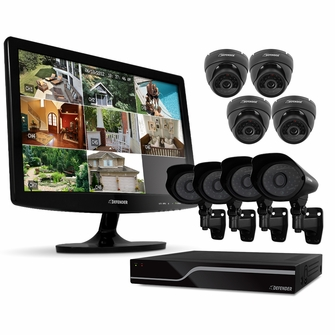 "Defender PRO Sentinel 8CH H.264 1 TB Smart Security DVR with 8 Ultra Hi-res Indoor/Outdoor Surveillance Cameras, Smart Phone Compatibility and 19"" LED Monitor (21139)<!--21139-->"