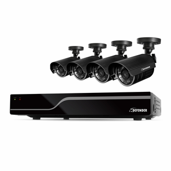 Defender Sentinel 8CH H.265 500GB Smart Security DVR with 4 x 480TVL 75ft Night Vision Indoor/Outdoor Cameras - 21028<!--21028-->