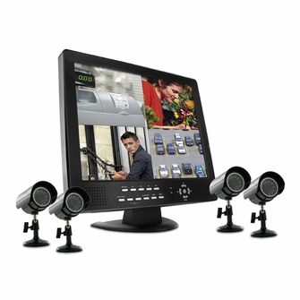Defender SENTINEL11 4 CH H.264 15-Inch LCD-DVR Security System with Mobile Phone Access and 4 Indoor/Outdoor Night Vision Surveillance Cameras<!--SENTINEL11-->