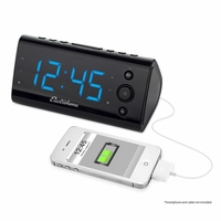 "Electrohome Alarm Clock Radio with USB Charging for Smartphones & Tablets includes Dual Alarm, Battery Backup, Auto Time Set & 1.2"" Blue LED Display with 4 Dimming Options (EAAC470)<!--EAAC470-->"