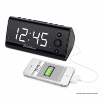 "Electrohome Alarm Clock Radio with USB Charging for Smartphones & Tablets includes Dual Alarm, Battery Backup, Auto Time Set & 1.2"" White LED Display with 4 Dimming Options (EAAC470W)<!--EAAC470W-->"