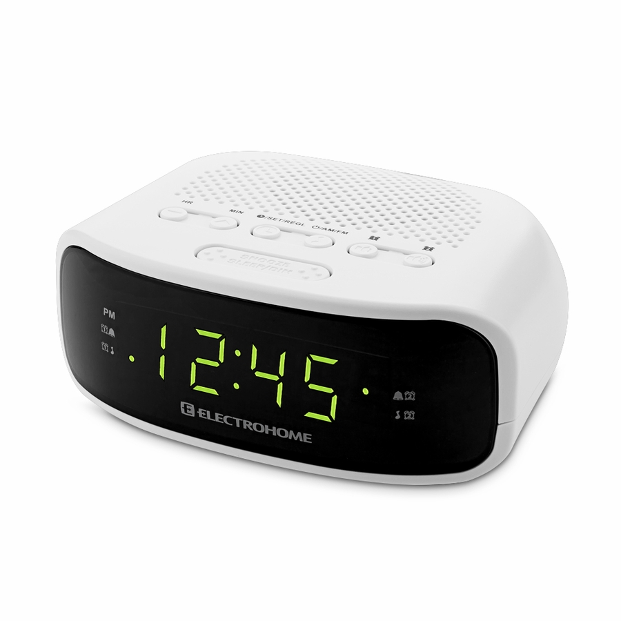 Electrohome 174 digital am fm clock radio with battery backup amp dual