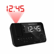 Electrohome EAAC500US AM/FM Projection Clock Radio with WakeUp! Battery Backup Alarm, Jumbo 1.2 inch LED Display, SelfSet Auto Time Set & Dual Alarm