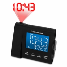 Electrohome EAAC600 AM/FM Projection Clock Radio with Dual Alarm, Auto Time Set/Restore, Temperature Display, and Battery Backup