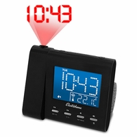 Electrohome Projection Alarm Clock with AM/FM Radio, Battery Backup, Auto Time Set, Dual Alarm, Nap/Sleep Timer, Indoor Temperature/Day/Date Display with Dimming & 3.5mm Audio Connection for Smartphones & Tablets (EAAC601)<!--EAAC601-->
