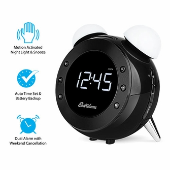 Electrohome® Retro Alarm Clock Radio with Motion Activated Night Light and Snooze, Digital AM/FM Radio, Wake-up Light, Dual Alarm, Auto Time Set, Battery Backup, Dimmer, and Temperature Display (CR35)<!--CR35-->