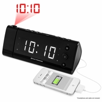 "Electrohome USB Charging Alarm Clock Radio for Smartphones and Tablets with Time Projection, Battery Backup, Auto Time Set, Dual Alarm, 1.2"" White LED Display (EAAC475W)<!--EAAC475W-->"