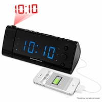 "Electrohome USB Charging Alarm Clock Radio with Time Projection, Battery Backup, Auto Time Set, Dual Alarm, 1.2"" Blue LED Display for Smartphones & Tablets (EAAC475) <!--EAAC475-->"