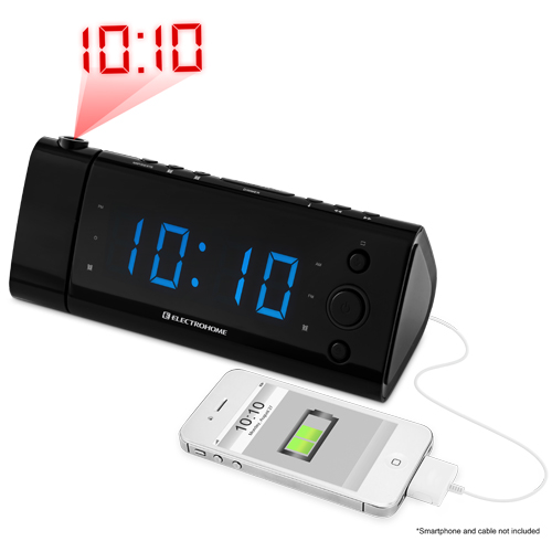 electrohome usb charging alarm clock radio with time projection battery back. Black Bedroom Furniture Sets. Home Design Ideas