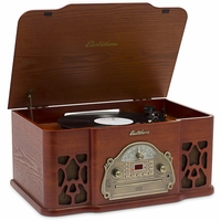 Electrohome Wellington 4-In-1 Nostalgia Turntable Real Wood Stereo System with Record Player, USB Recording, MP3, CD & AM/FM Radio - EANOS502<!--EANOS502-->