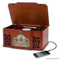 Electrohome Wellington Record Player Retro Vinyl Turntable Real Wood Stereo System, AM/FM Radio, CD, USB for MP3, Vinyl-to-MP3 Recording, Headphone Jack, & AUX Input for Smartphones & Tablets (EANOS502)<!--EANOS502-->