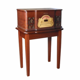 Electrohome Winston 3-in-1 Vintage Classic Turntable Real Wood Stereo System with AM/FM Radio, CD & Full Size Record Player and Bonus Table Stand - EANOS501-EANOSSTD-KIT
