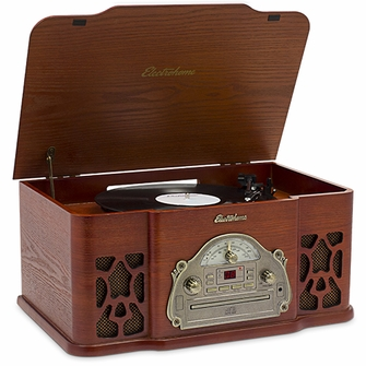 Electrohome Winston Vinyl Record Player 3-in-1 Classic Turntable Natural Wood Stereo System, AM/FM Radio, CD, and AUX  Input for Smartphones, Tablets, and MP3 players (EANOS501)<!--EANOS501-->