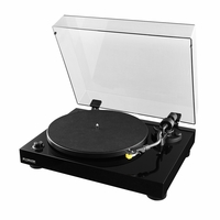 Fluance High Fidelity Vinyl Turntable Record Player with Premium Cartridge, Diamond Stylus, Belt Drive, Built-in Preamp, Adjustable Counterweight & Anti-Skating, Glossy Black Wood Cabinet (RT80)<!--RT80-->