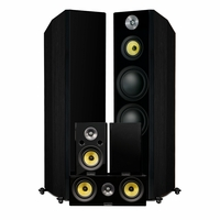 Fluance Signature Series Hi-Fi 5.0 Surround Sound Home Theater Speaker System Including Three-way Floorstanding Towers, Center & Rear Speakers (HFHTB) – Onyx Black<!--HFHTB-->