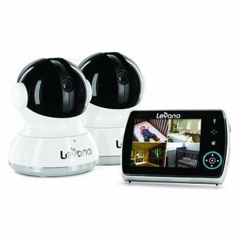 Levana Keera 3.5 inch LCD, Pan/Tilt/Zoom Digital Baby Video Monitor with 10hr Battery, Touch Panel, Talk to Baby Intercom & SD Video Recording - 2 Camera System (32016)<!--32016-->