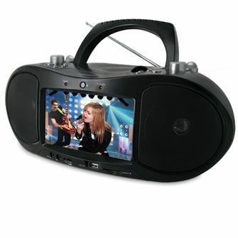 """Magnasonic MAG-MDVD500 Portable CD/DVD Player Boombox with 7"""" Widescreen LCD, AM/FM Radio, Karaoke Function, & MP3/WMA/MPEG4 Playback<!--MAG-MDVD500-->"""