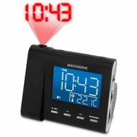 Magnasonic MAG-MM176K AM/FM Projection Clock Radio with Dual Alarm, Auto Time Set/Restore, Temperature Display, and Battery Backup<!--MAG-MM176K-->