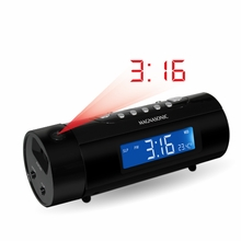 Magnasonic MAG-MM178K AM/FM Projection Clock Radio with Dual Alarm, Auto Time Set/Restore, Motion Activated Snooze, Temperature Display & Battery Backup