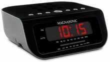 Magnasonic MAG-MM189K Ultra Compact AM/FM Alarm Clock Radio with 9V Battery Backup